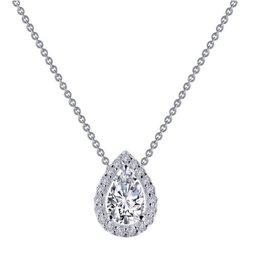 Lafonn Lafonn Halo Pear Shaped Lassaire Simulated Diamond Platinum Bonded Sterling Silver Necklace