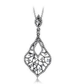 Zeghani Ombre Diamond Pendant (0.63ct) 14K White Gold