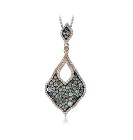 Zeghani Brown & Clear Diamond (1.58ct) 14K Rose Gold Pendant