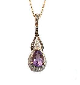 14K Rose Gold Pear Shape Amethyst and Diamond Pendant