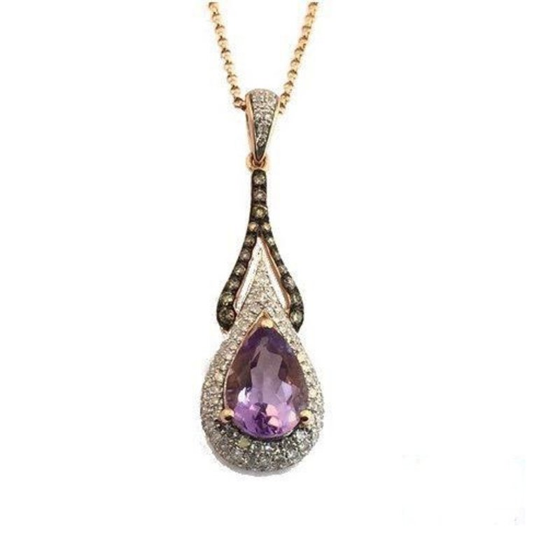 Amethyst & Diamond Pendant 14K Rose Gold