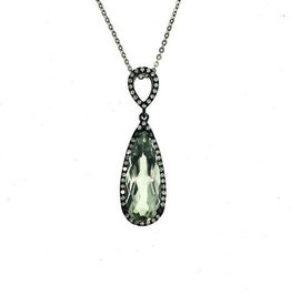 Zeghani Green Amethyst & Diamond Pendant 14K White Gold