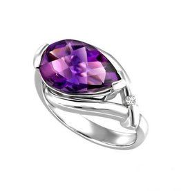 Side Tear Drop Amethyst & Diamond White Gold Ring