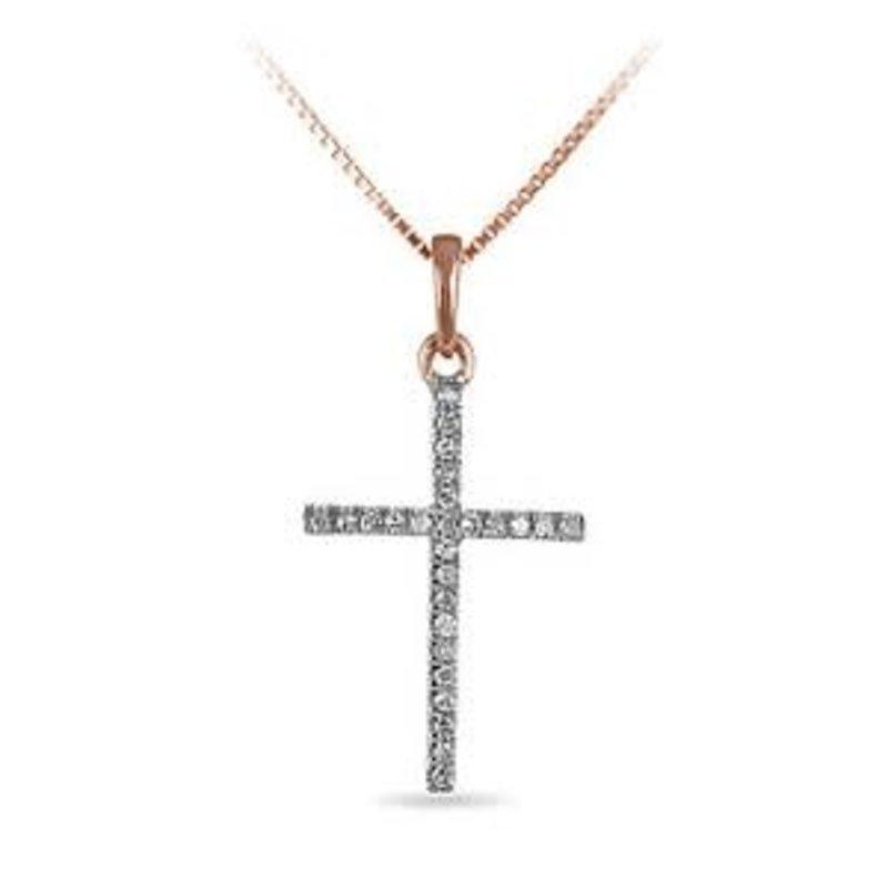 14K Rose Gold (0.05ct) Diamond Cross Necklace