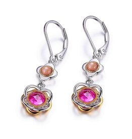 Elle Elle Romance Sterling Silver Simulated Pink Corundum and Purple Mother of Pearl Dangle Leverback Earrings