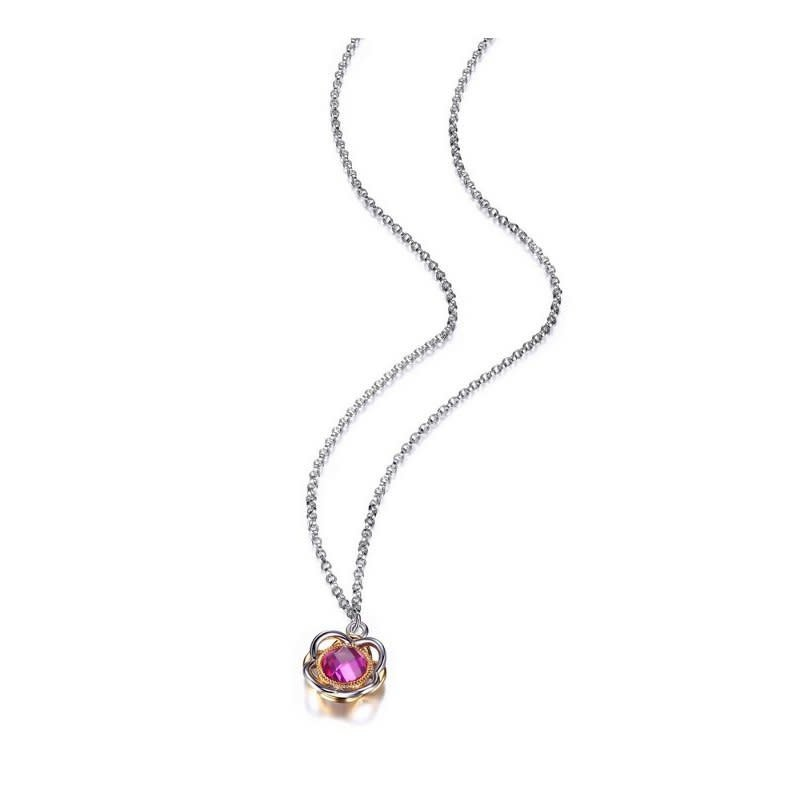 Elle Romance Sterling Silver Pink Corundum and Purple Pearls Necklace