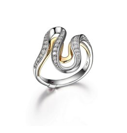 Elle Moon Shadow Sterling Two Tone CZ Wave Ring