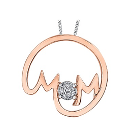 10K Rose Gold Mom Diamond Pendant