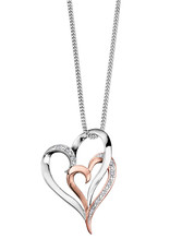 White & Rose Gold (0.035ct) Double Heart Pendant