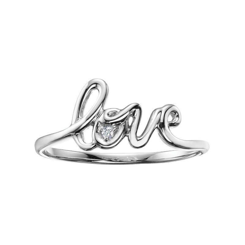 10K White Gold (0.01ct) Diamond Love Script Ring