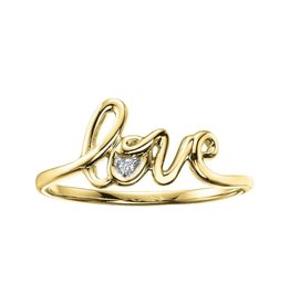 10K Yellow Gold Diamond Script Love Ring (0.01ct)