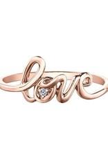 Rose Gold Diamond Love Script Ring (0.01ct)