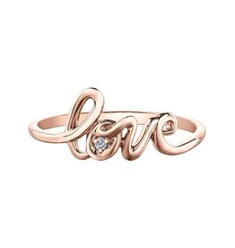 Rose Gold Diamond Love Script Ring (0.01ct)