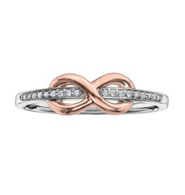 10K White and Rose Gold (0.05ct) Diamond Infinity Ring