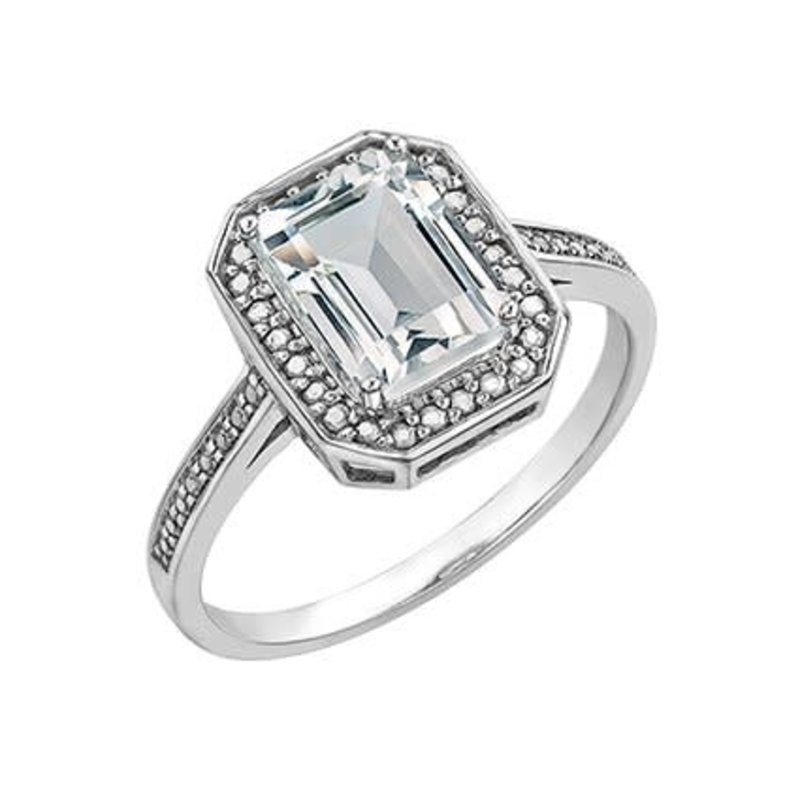 10K White Gold & White Topaz Ring