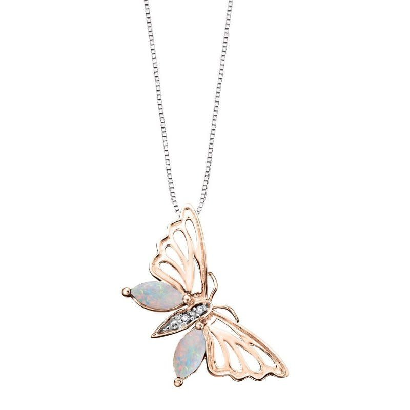 Rose and White Gold Opal and Diamond Butterfly Pendant