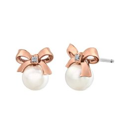 Rose Gold (0.10ct) Pearl and Diamond Bow Earrings