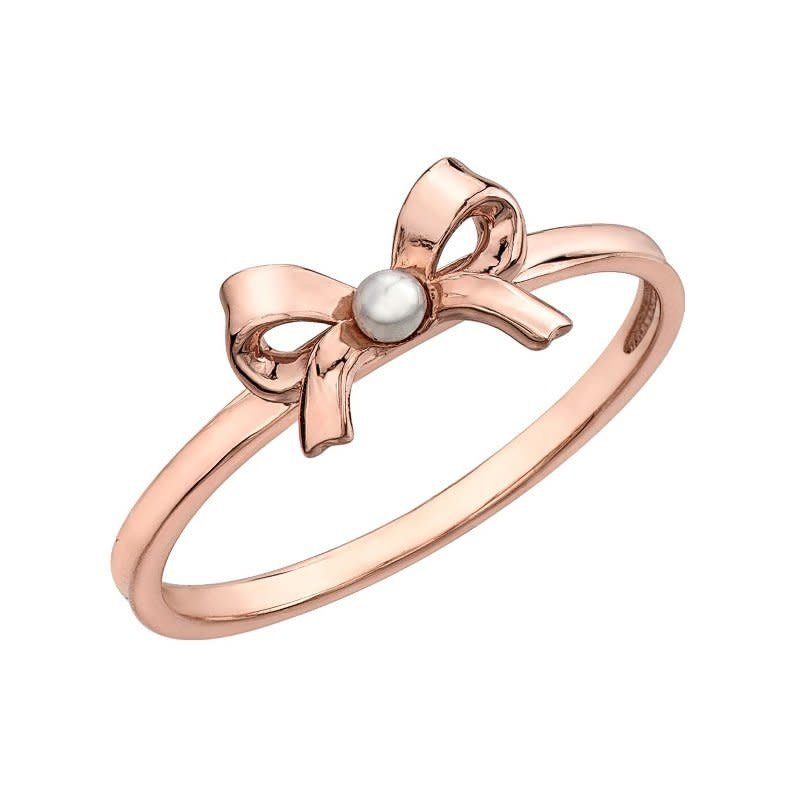 10K Rose Gold Bow Pearl Ring