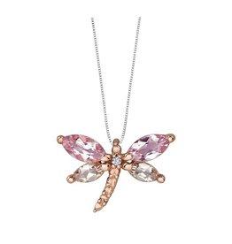 Rose Gold Lilac Amethyst, Morganite & Diamond Dragonfly Pendant