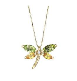 Yellow Gold Peridot, Yellow Sapphire and Diamond Dragonfly Pendant