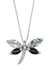 White Gold White Topaz, Black Sapphire and Diamond Dragonfly Pendant