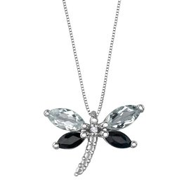 White Gold White Topaz, Black Sapphire and Diamond Dragonfly Pendant