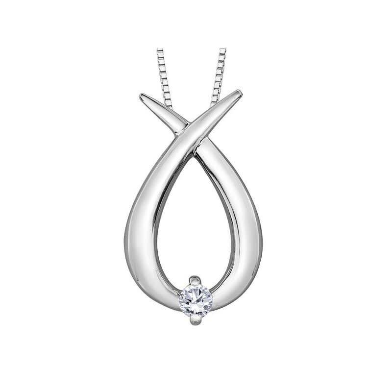 Forever Jewellery 10K White Gold (0.04ct) Diamond Contemporary Pendant