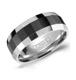 Torque Tungsten & Black Ceramic Mens Ring