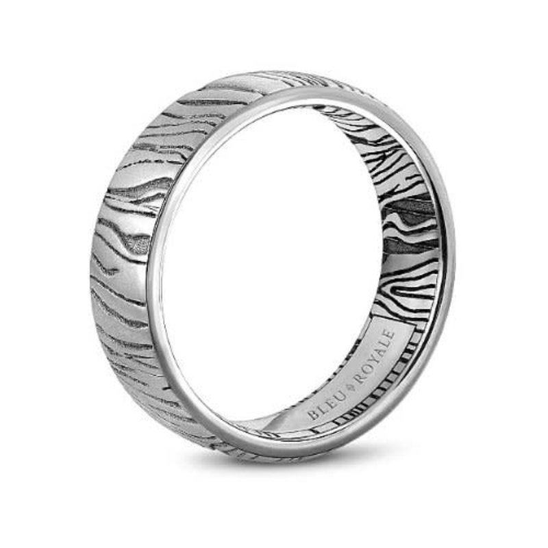 White Gold Band with Laser Engraved Accents