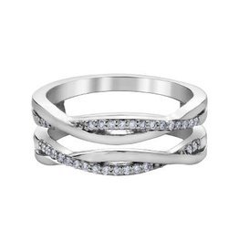 10K White Gold (0.15ct) Diamond Ring Jacket / Enhancer