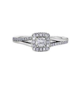 I am Canadian 14K White Gold (0.30ct) Canadian Diamond Halo Engagement Ring