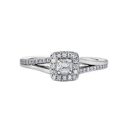 I am Canadian White Gold Canadian Diamond Halo Ring  (0.30ct)