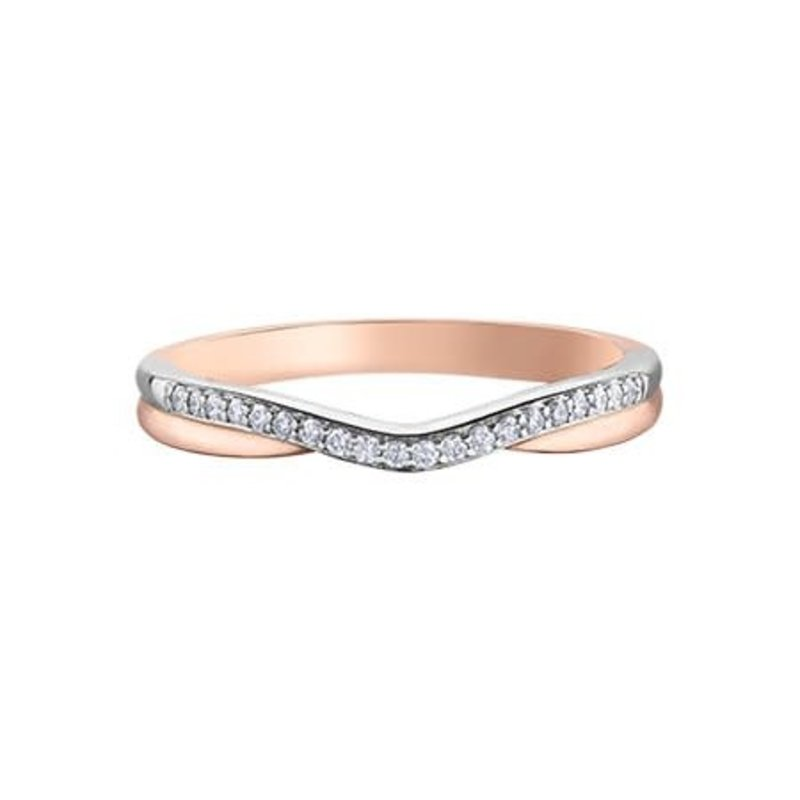10K Rose and White Gold  (0.10ct) Diamond Stackable Band