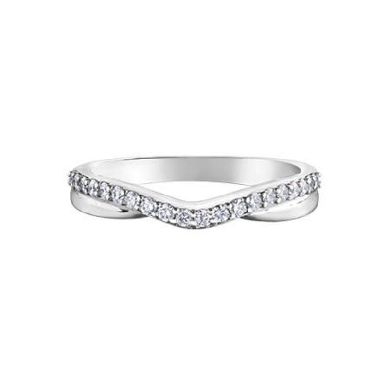 10K White Gold  (0.10ct) Diamond Stackable Band