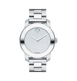 Movado Bold Silver tone with Silver Glitter Dial