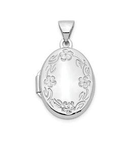 14K White Gold Floral Oval Locket Pendant