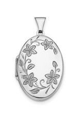 Sterling Silver 32mm Floral Oval Locket