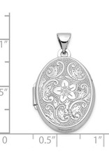 14K White Gold 21mm Oval Floral Scroll Border Engraved Locket