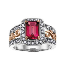 14K White and Rose Gold Pink Tourmaline and Diamonds Ring