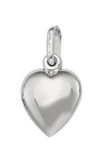10K White Gold Puffed Heart Pendant (10mm)