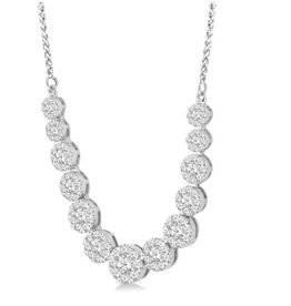 14K White Gold 3.00ct Cluster Diamond Necklace