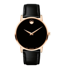 Movado Museum Classic Mens Watch Rose and Black Dial