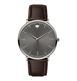 Movado Movado Ultra Slim Mens Grey Dial and Chocolate Brown Strap