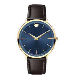 Movado Movado Ultra Slim Mens Blue Dial and Chocolate Brown Strap