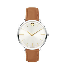 Movado Movado Ultra Slim Ladies Silver White Dial and Tan Strap