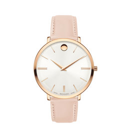 Movado Movado Ultra Slim Ladies Silver White Dial and Pink Strap