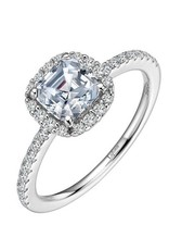 Lafonn Lafonn Halo Asscher Cut With Stimulated Diamond Ring in Sterling Silver Platinum Bonded Ring