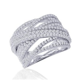 Lafonn Lafonn Pavee Wide Band Set With Simulated Diamond Platinum Bonded Ring