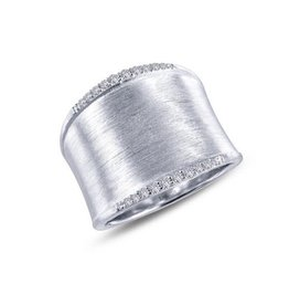 Lafonn Lafonn Wide Brush Finish Band With Simulated Diamonds And Platinum Bonded Ladies Ring