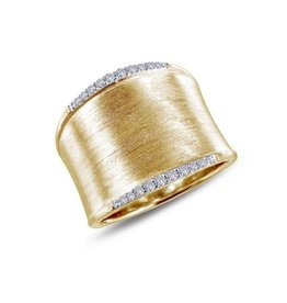 Lafonn Lafonn Wide Band Simulated Diamond Gold Plated Ladies Ring